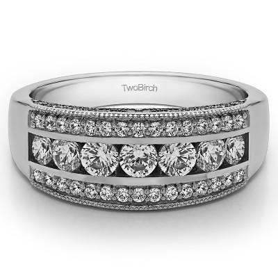 0.98 Carat Pave Set Filigree Three Row Anniversary Band