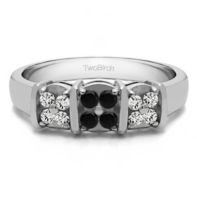 0.31 Carat Black and White Illusion Three Stone Wedding Ring
