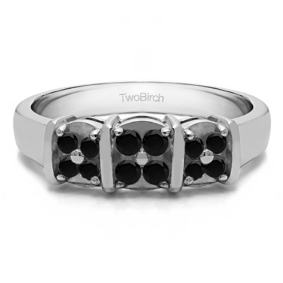 0.31 Carat Black Illusion Three Stone Wedding Ring