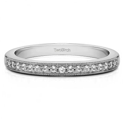 0.26 Carat Seventeen Stone Millgrained Pave Set Wedding Ring