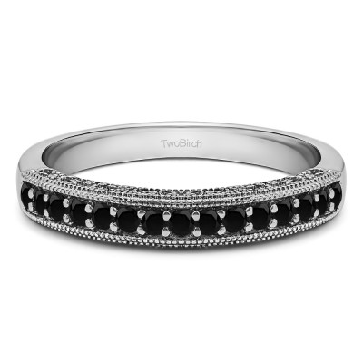 Carat Black Vintage Millgrain Filigree Wedding Band