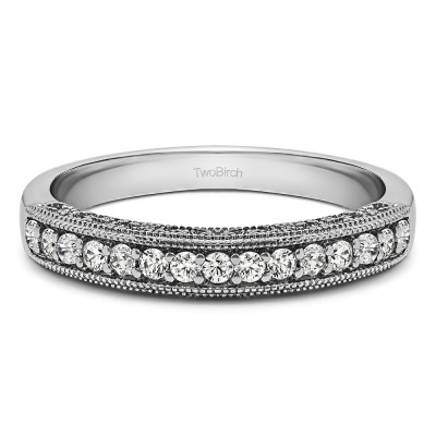 0.15 Carat Vintage Millgrain Filigree Wedding Band