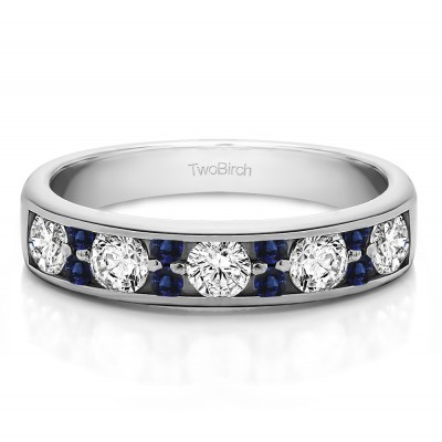 0.76 Carat Sapphire and Diamond Alternating Large and Small Round Stone Wedding Ring
