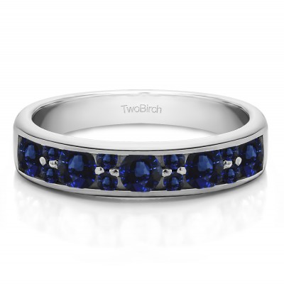 0.76 Carat Sapphire Alternating Large and Small Round Stone Wedding Ring