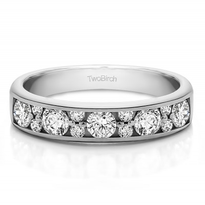 0.76 Carat Alternating Large and Small Round Stone Wedding Ring