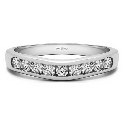 0.5 Ct. Nine Stone Round Channel Set Contour Curved Band