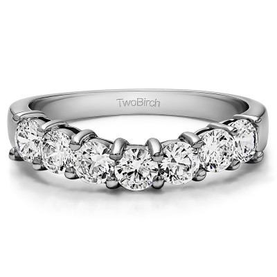 0.75 Ct. Seven Stone Shared Prong Contoured Wedding Ring With Cubic Zirconia Mounted in Sterling Silver (Size 8)