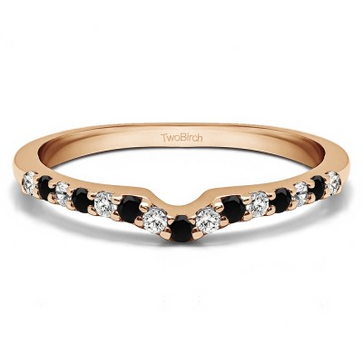 0.25 Ct. Black and White Delicate Notched Contour Band in Rose Gold