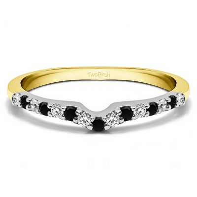0.25 Ct. Black and White Delicate Notched Contour Band in Two Tone Gold