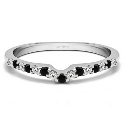 0.25 Ct. Black and White Delicate Notched Contour Band