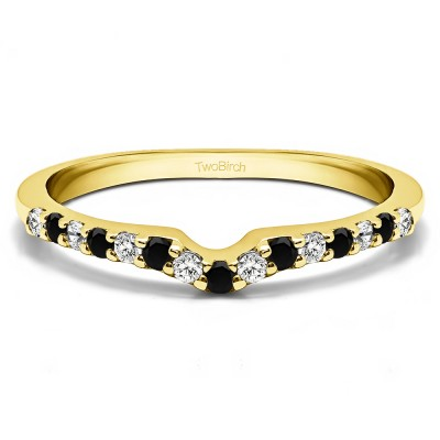0.25 Ct. Black and White Delicate Notched Contour Band in Yellow Gold