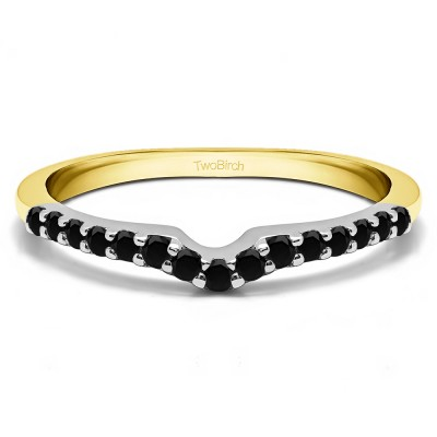 0.25 Ct. Black Delicate Notched Contour Band in Two Tone Gold