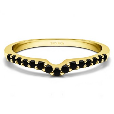 0.25 Ct. Black Delicate Notched Contour Band in Yellow Gold