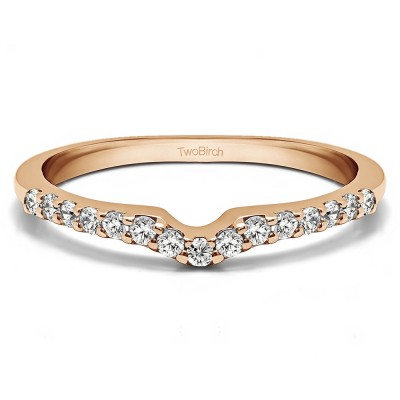 0.15 Ct. Delicate Notched Contour Band in Rose Gold