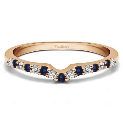 0.25 Ct. Sapphire and Diamond Delicate Notched Contour Band in Rose Gold