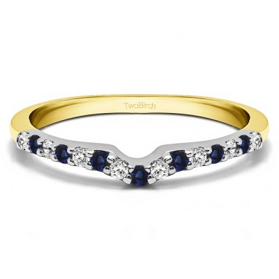 0.25 Ct. Sapphire and Diamond Delicate Notched Contour Band in Two Tone Gold