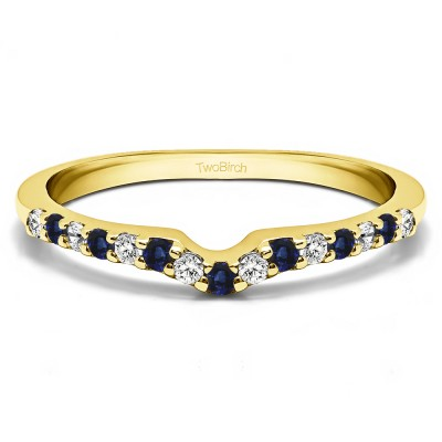 0.25 Ct. Sapphire and Diamond Delicate Notched Contour Band in Yellow Gold