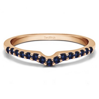 0.25 Ct. Sapphire Delicate Notched Contour Band in Rose Gold