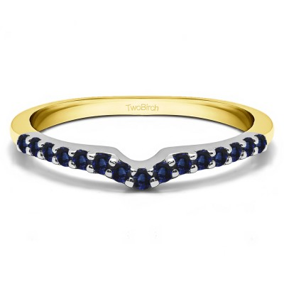 0.25 Ct. Sapphire Delicate Notched Contour Band in Two Tone Gold