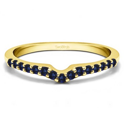 0.25 Ct. Sapphire Delicate Notched Contour Band in Yellow Gold
