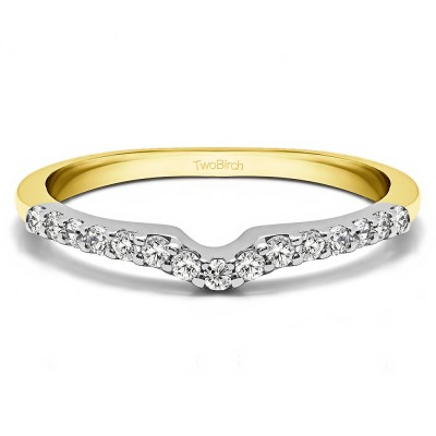 0.15 Ct. Delicate Notched Contour Band in Two Tone Gold