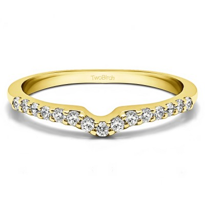 0.15 Ct. Delicate Notched Contour Band in Yellow Gold