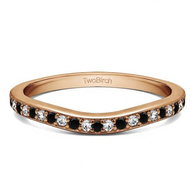 0.42 Ct. Black and White Dainty Curved Round Shared Prong Tracer Band in Rose Gold