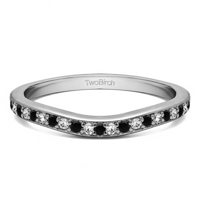 0.42 Ct. Black and White Dainty Curved Round Shared Prong Tracer Band