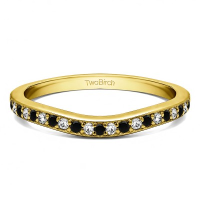 0.42 Ct. Black and White Dainty Curved Round Shared Prong Tracer Band in Yellow Gold