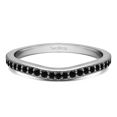 0.42 Ct. Black Dainty Curved Round Shared Prong Tracer Band