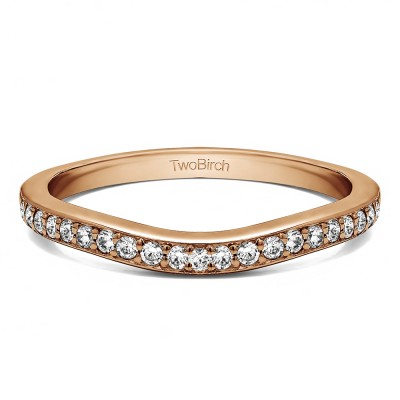 0.25 Ct. Dainty Curved Round Shared Prong Tracer Band in Rose Gold