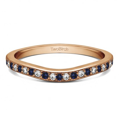 0.42 Ct. Sapphire and Diamond Dainty Curved Round Shared Prong Tracer Band in Rose Gold