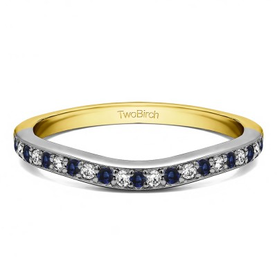 0.42 Ct. Sapphire and Diamond Dainty Curved Round Shared Prong Tracer Band in Two Tone Gold