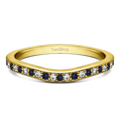 0.42 Ct. Sapphire and Diamond Dainty Curved Round Shared Prong Tracer Band in Yellow Gold