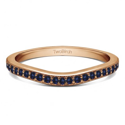 0.42 Ct. Sapphire Dainty Curved Round Shared Prong Tracer Band in Rose Gold