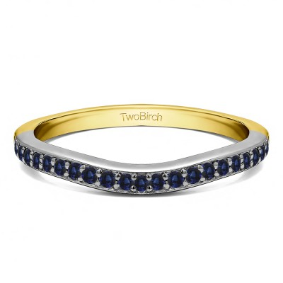 0.42 Ct. Sapphire Dainty Curved Round Shared Prong Tracer Band in Two Tone Gold
