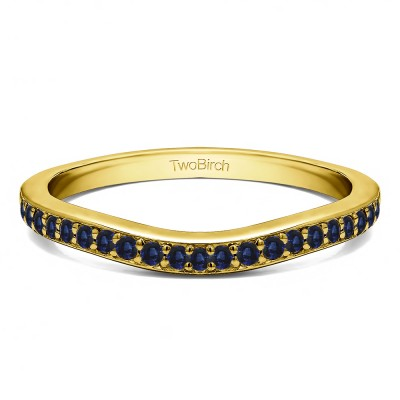 0.42 Ct. Sapphire Dainty Curved Round Shared Prong Tracer Band in Yellow Gold