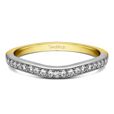0.25 Ct. Dainty Curved Round Shared Prong Tracer Band in Two Tone Gold