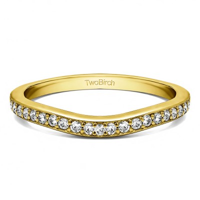 0.25 Ct. Dainty Curved Round Shared Prong Tracer Band in Yellow Gold