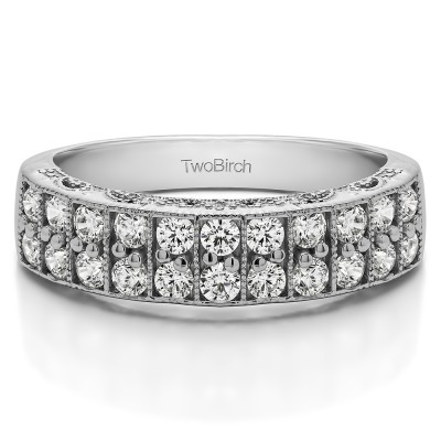 0.99 Carat Double Row Millgrained Pave Vintage Wedding Ring