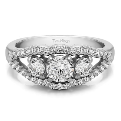 1.04 Carat Three Stone Prong Set Wedding Band