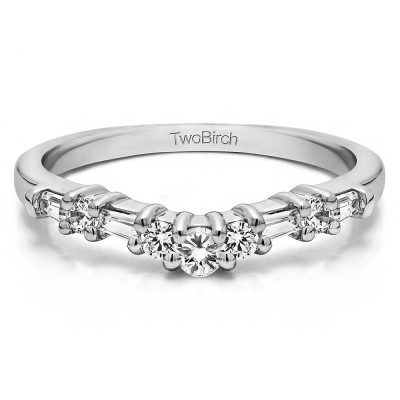 0.35 Ct. Alternating Baguette and Round Curved Wedding Ring With Cubic Zirconia Mounted in Sterling Silver