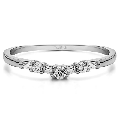 0.32 Ct. Alternating Baguette and Round Shared Prong Tracer Band With Cubic Zirconia Mounted in Sterling Silver (Size 7.25)