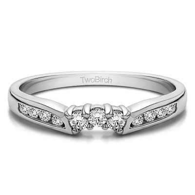 0.28 Ct. Round Prong and Channel Notched Band With Cubic Zirconia Mounted in Sterling Silver (Size 4.25)