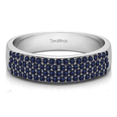 0.49 Carat Sapphire Double Row Pave Set Wedding Ring