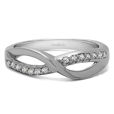 0.14 Carat Infinity Pave Set Wedding Ring