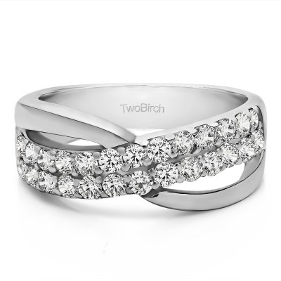 0.78 Carat Double Row Shared Prong Bypass Wedding Ring