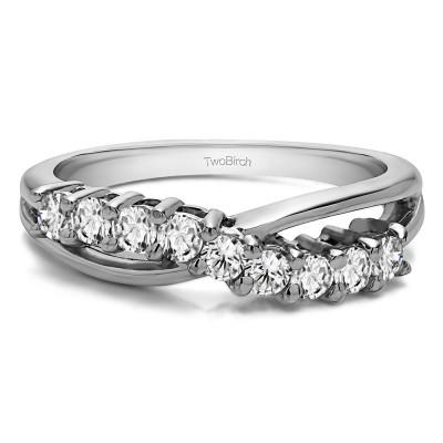 0.55 Carat Ten Stone Shared Prong Bypass Wedding Band