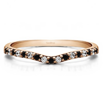 0.17 Ct. Black and White Delicate Contour Matching Wedding Ring in Rose Gold