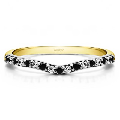 0.17 Ct. Black and White Delicate Contour Matching Wedding Ring in Two Tone Gold